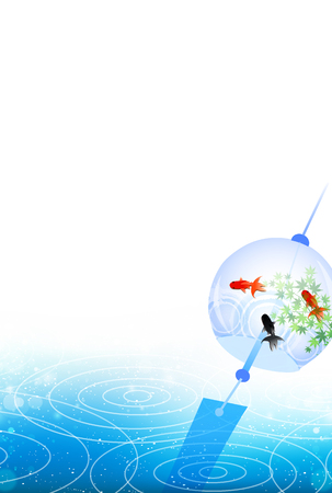 chimes: Wind chimes goldfish summer greeting background