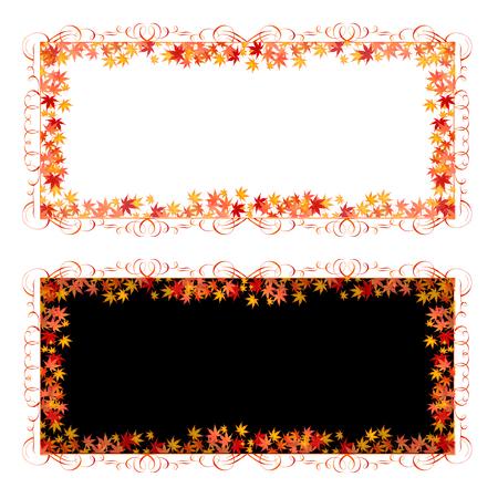 leaves frame: Autumn leaves fall background frame