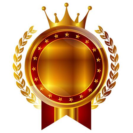 Crown medal frame icon Stock Illustratie