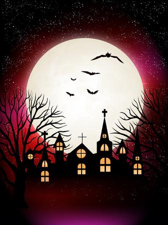 harvest moon: Halloween night sky autumn background