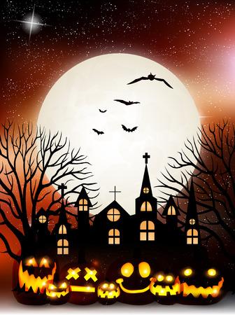 harvest moon: Halloween pumpkin autumn background