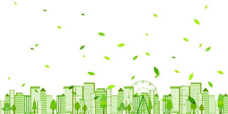 green eco: City fresh green eco background Illustration
