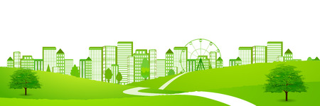 City fresh green eco background 일러스트