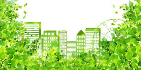 街の新鮮な緑環境の背景