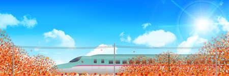 shinkansen: Autumn leaves Shinkansen landscape background