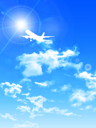 jumbo jet: Airplane sky landscape background