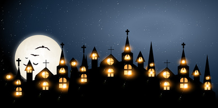 stars sky: Halloween Castle church background