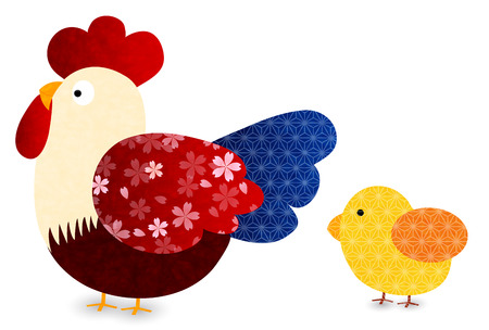 Rooster chicken greeting card icon
