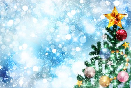 winter snow: Christmas snow fir tree background