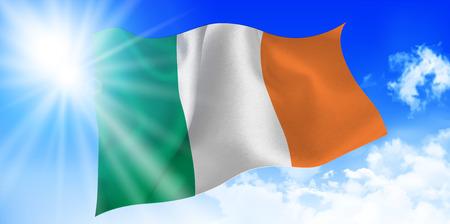 ireland flag: Ireland national flag sky background