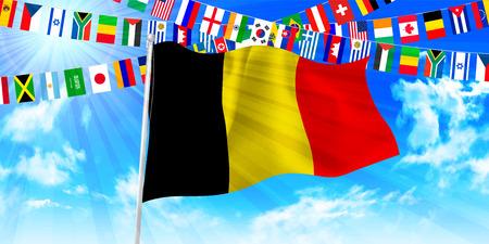 Belgium flag sky background