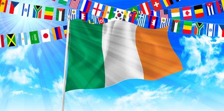 ireland flag: Ireland flag sky background