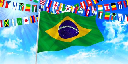 Brazil flag sky background