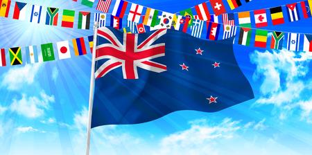 new zealand landscape: New Zealand national flag sky background Illustration