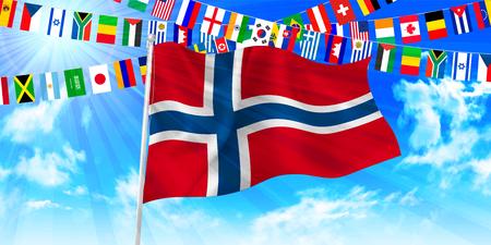 norway flag: Norway national flag sky background