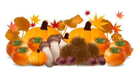 persimmon: Autumn leaves pumpkin Halloween background