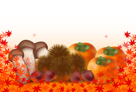 persimmon: Autumn leaves Matsutake chestnut persimmon