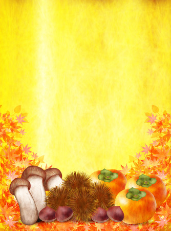 persimmon: Autumn leaves chestnuts Matsutake persimmon Illustration