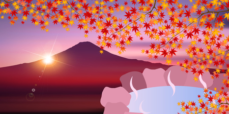 Autumn leaves Fuji bath background Illustration