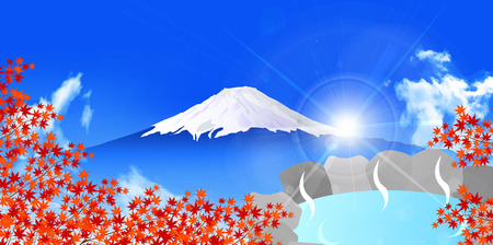 openair: Autumn leaves Fuji bath background Illustration