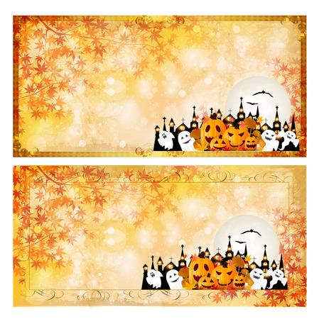 harvest moon: Halloween pumpkin autumn leaves background Illustration