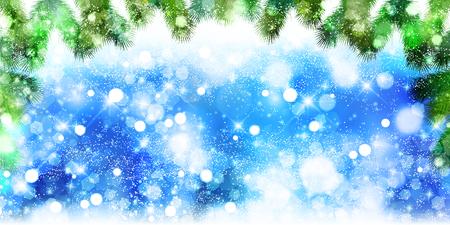 Weihnachten Schnee Tanne Hintergrund Standard-Bild - 61047777
