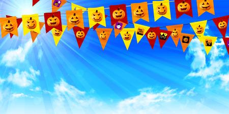 Halloween pumpkin flag background Illustration