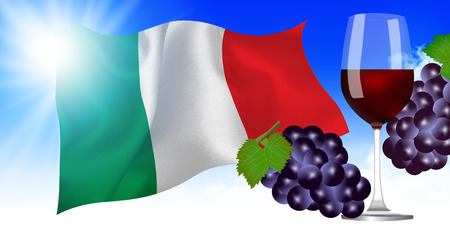 Italy National flag Grapes background