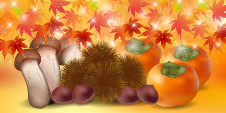 autumn food: Autumn leaves autumn food background