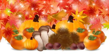 persimmon: Autumn leaves autumn food background