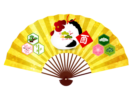 Rooster New Years card fan icon Illustration