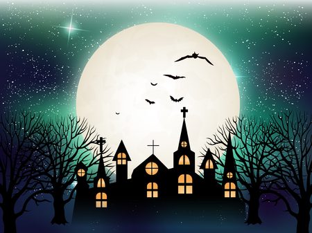 halloween background: Halloween Castle night background
