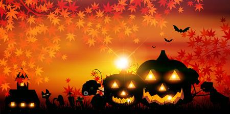 Halloween pumpkin autumn leaves background Illustration