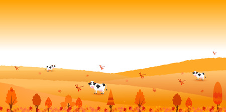 ranch background: Autumn leaves autumn ranch background