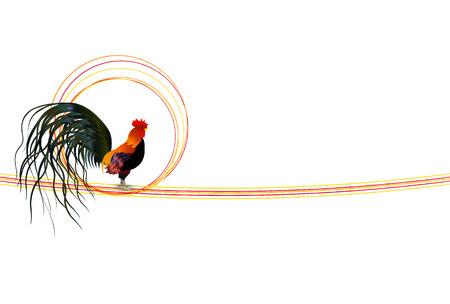 Rooster chicken greeting card background Illusztráció