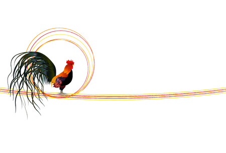 Rooster chicken greeting card background Illustration