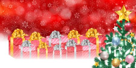 fir tree: Christmas fir tree gift background Illustration