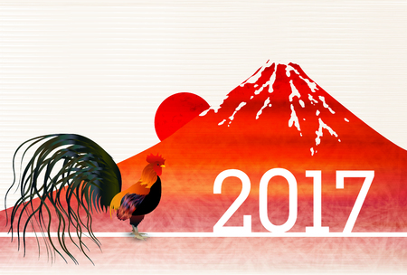rooster at dawn: Rooster chicken Fuji New Years card