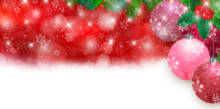 tree decorations: Christmas snow holly background