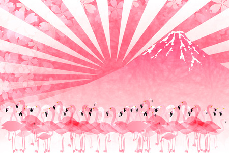 rooster at dawn: Rooster Flamingo Fuji New Years card Illustration