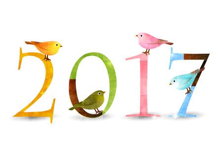 Rooster Nightingale újévi kártya háttér Illusztráció