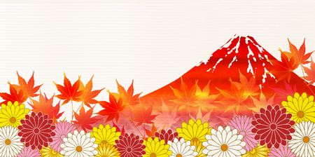 fall leaves: Autumn leaves fall Fuji background