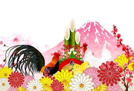 sho chiku bai: Rooster crane Fuji New Years card