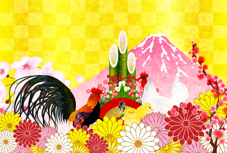 sho: Rooster crane Fuji New Years card