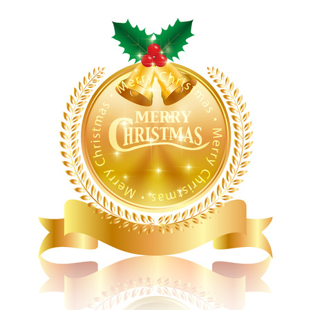 Christmas holly medal icon