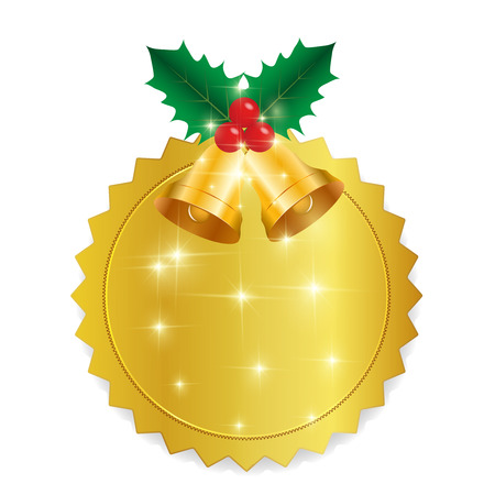 christmas icon: Christmas holly medal icon