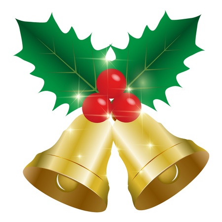 christmas icon: Christmas holly bell icon Illustration