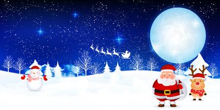 Kerst sneeuw Kerstman achtergrond