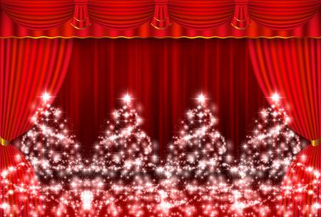 curtain background: Christmas snow curtain background Illustration
