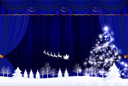 クリスマス雪サンタ背景